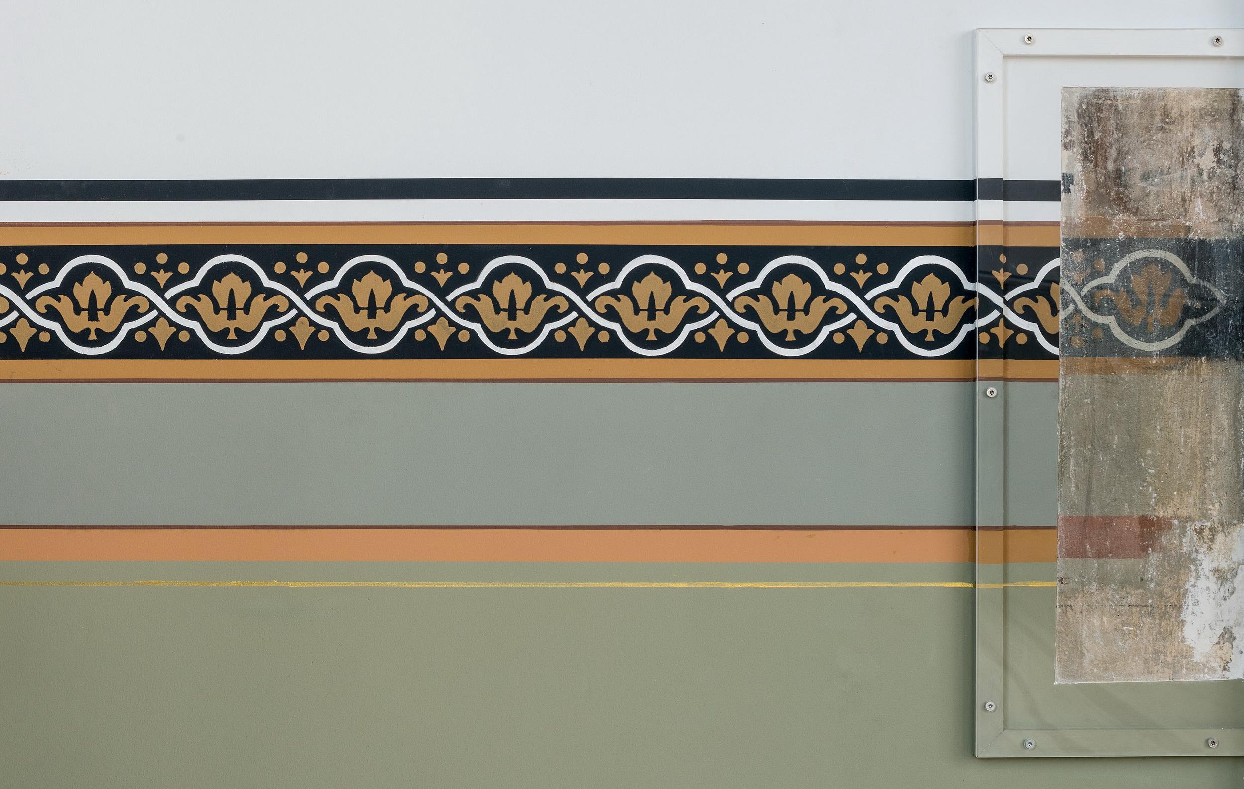 Historische Wandbemalung in der Aula des Mitte Museums (Detail)