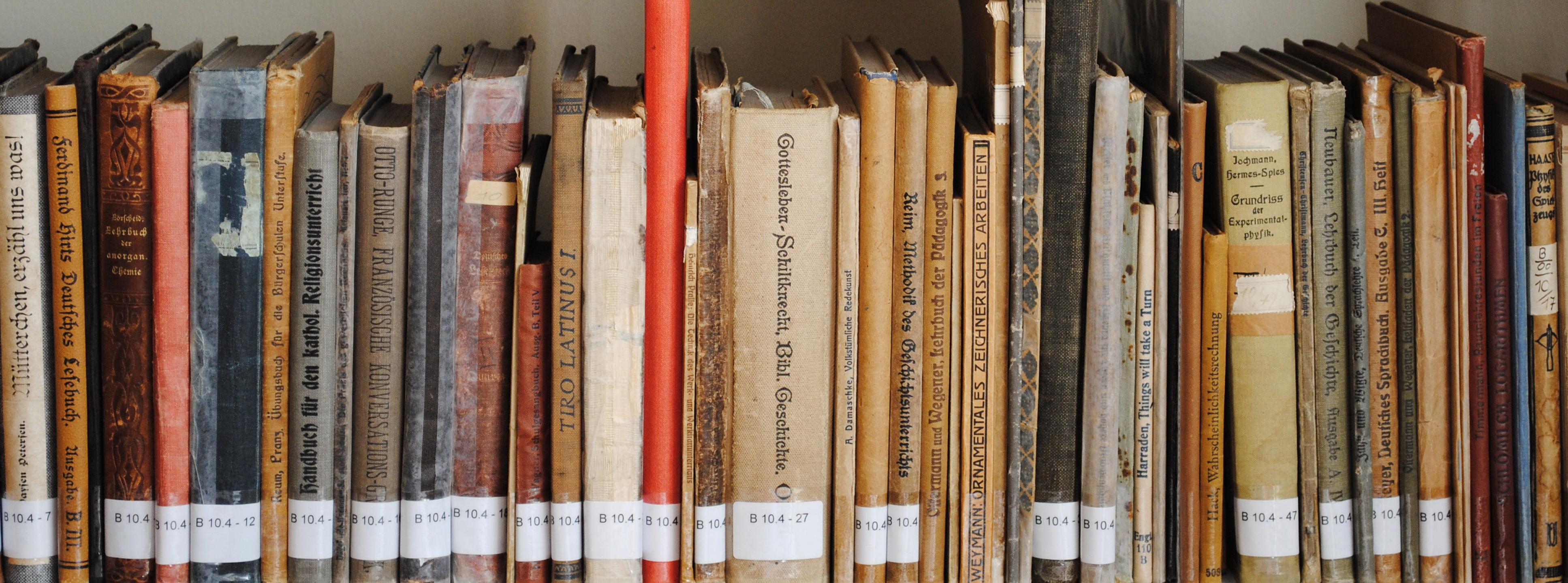 hier sehen Sie ein Bücherregal mit thematischen Beschriftungen