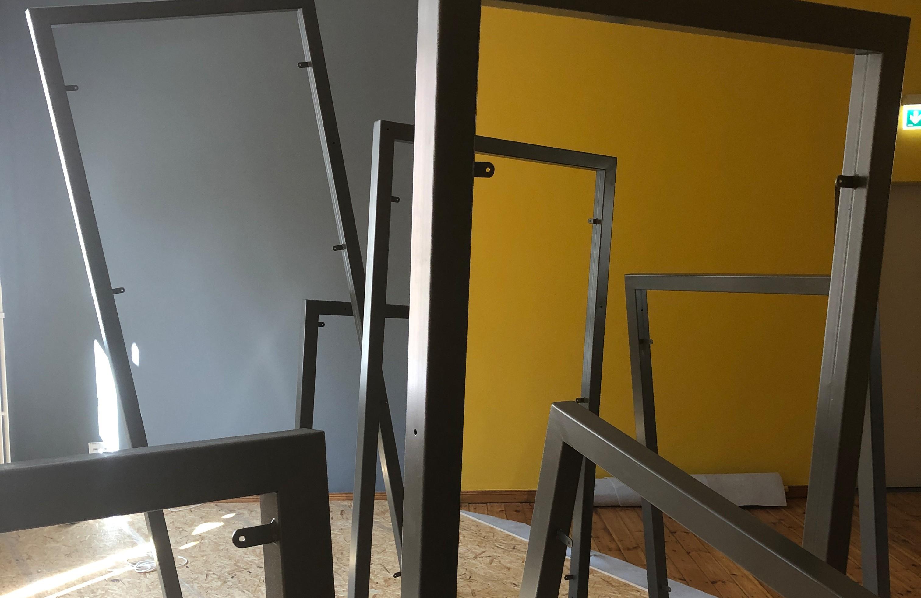 Ausstellungsaufbau im Themenraum »Recht auf Stadt«